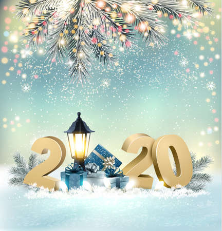 Merry Christmas Background with 2020 and gift boxes and blue ribbon. Vector