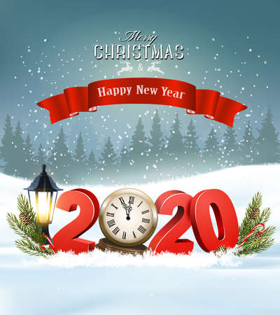 Merry Christmas Background with 2020 and clock and a red ribbon. Vector