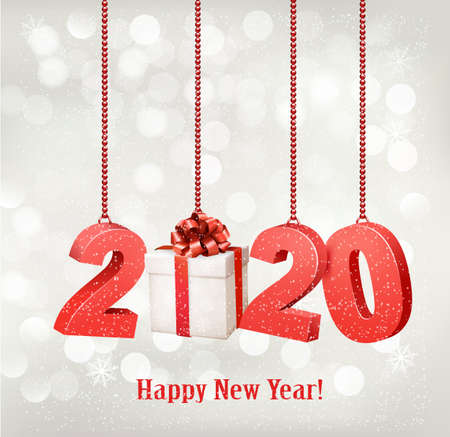 2020 New Years background with gift box. Vector.