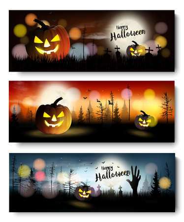 Set Halloween Spooky Banner. Vektor