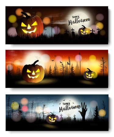Set of Halloween Spooky banners. Vector