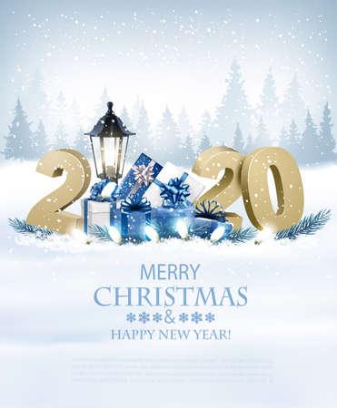 Wesołych Świąt Bożego Narodzenia tło z 2020 i pudełkami prezentowymi i girlandą.Wektor