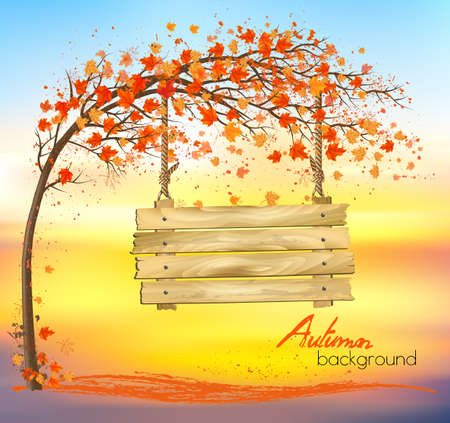 Autumn abstract background with a tree and a wooden sign. Vector. Illustration