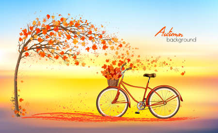 Autumn background with a tree and a bike with basket and colorful leaves. Vector.  イラスト・ベクター素材