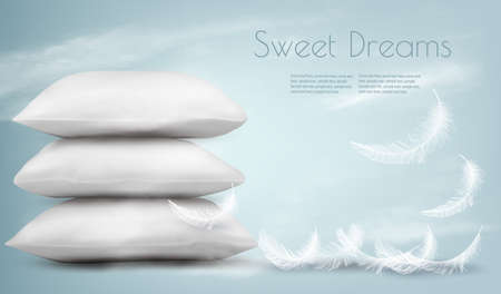 Background with pillows and white feathers. Sleeping concept. Vector illustration
