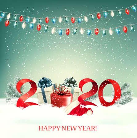 2020 New Year background with gift boxes and colorful garland. Vector.