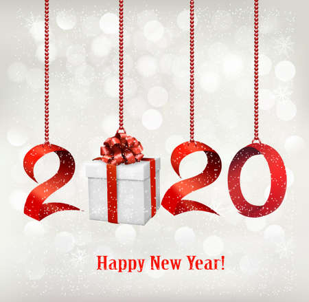 2020 New Years background with gift box and red ribbons. Vector.