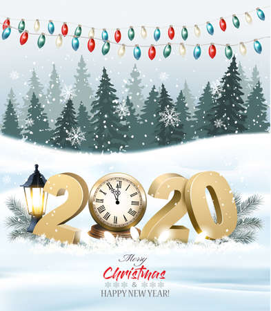 Merry Christmas Background with 2020 and clock and colorful garland. Vector