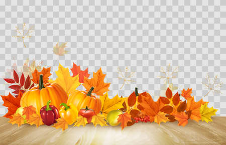 Nature autumn background. Happy Thanksgiving holiday card with fresh vegetables and colorful leaves. Vector.  イラスト・ベクター素材
