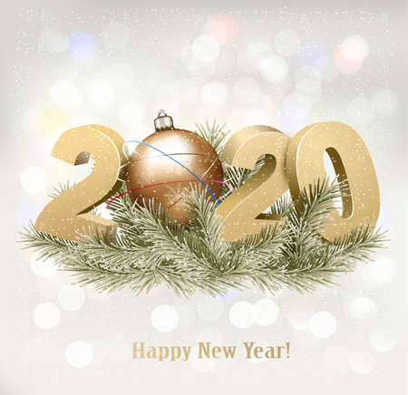 Holiday background with a 2020 and a christmas tree. Vector.