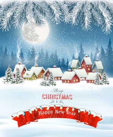 Hintergrund der frohen Weihnachten mit Zweigen des Baums und des Winterdorfes