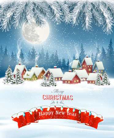 Merry Christmas Background with branches of tree and winter village.Vector Illustration