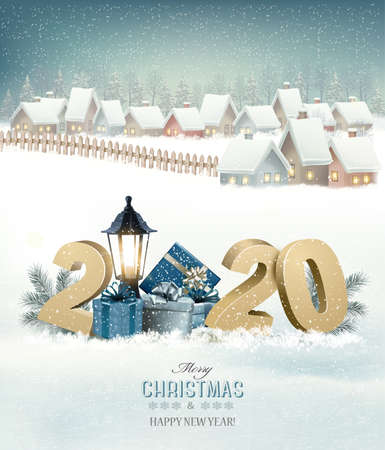 Winter christmas holiday background with a snowy village landscape and 2020. Vector.  イラスト・ベクター素材