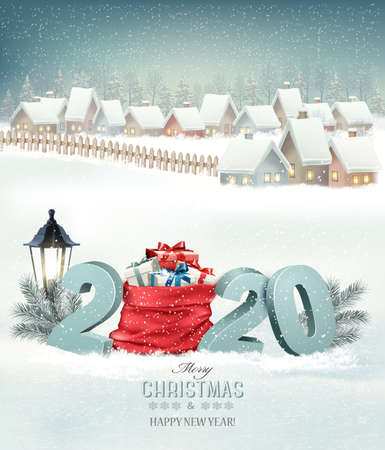Christmas holiday background with a snowy village landscape and 2020 with a red sack and presents. Vector.