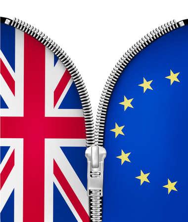 Brexit concept. Zipper dividing UK and EU.