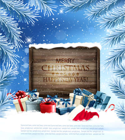 Holiday Christmas background with  gift boxes and wooden board. Иллюстрация