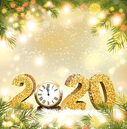 Christmas and Happy New Year holiday 2020 background with branch of tree and clock.