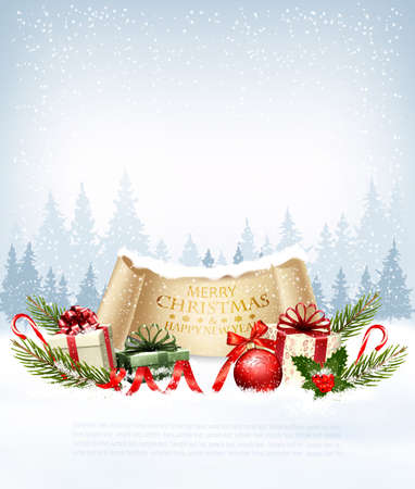 Holiday Christmas background with   gift boxes