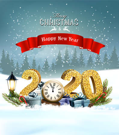 Holiday Christmas background with 2020 and presents and clock.