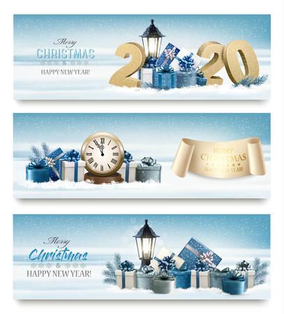Frohe Weihnachten-Banner mit Baumzweigen, Uhr und Geschenken.