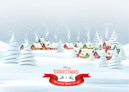 Holiday Christmas background with  village and  trees.