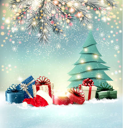 Christmas holiday background with colorful presents and magic box.