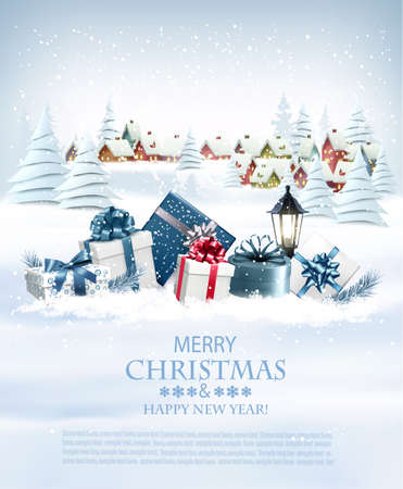 Christmas holiday background with colorful gift boxes