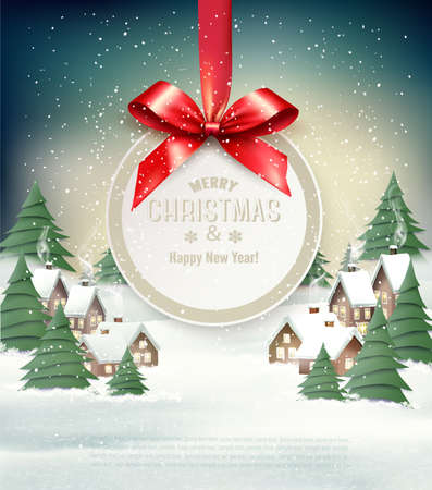 Christmas holiday background with  winter village and gift card with a red bow.