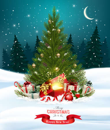 Christmas holiday background with colorful gift boxes and wooden sign.