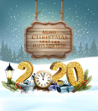 Christmas Holiday background with 2020 with presents and wooden sign. Ilustrace