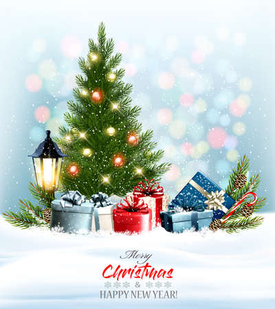 Holiday Christmas and New Year background with colorful presents and winter tree with garland.