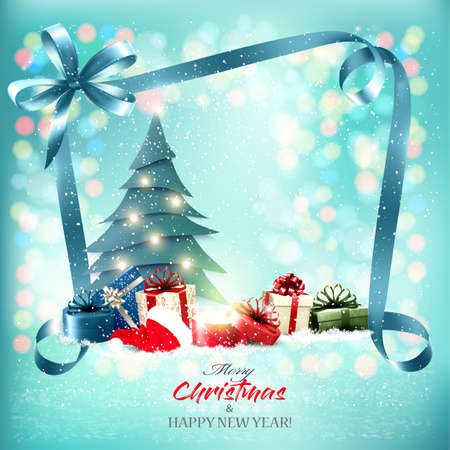 Merry Christmas and New Year Holiday Background with magic box, presents and blue ribbon.