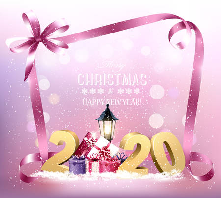 Merry Christmas and New Year Holiday background with 2020 and presents.