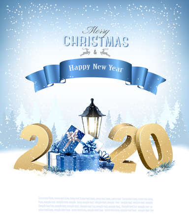 Merry Christmas Background with 2020 and gift boxes and blue ribbon.