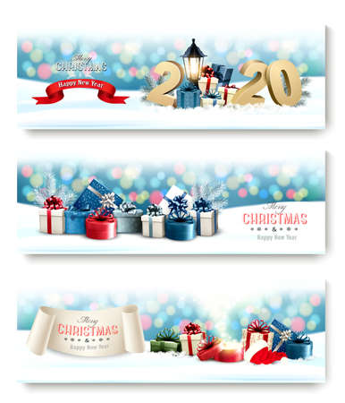 Happy 2020 New Year background with colorful presents and firework. Ilustrace