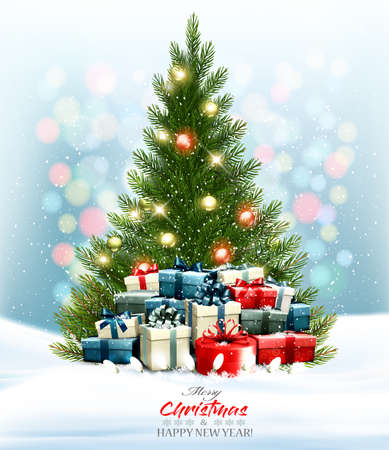 Holiday background with a colorful presents and Christmas tree with garland. Ilustrace