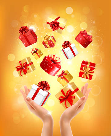 Christmas Holiday background with hands holding gift boxes. Concept of giving presents. Vector illustration.