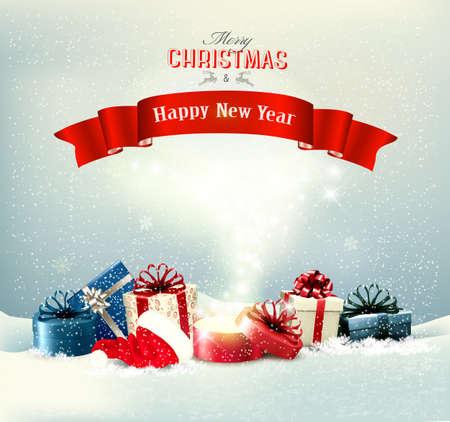 Fond de Noël de vacances avec des cadeaux et une boîte magique. Vecteur