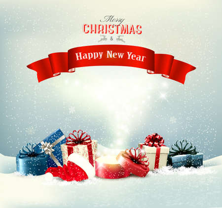 Holiday Christmas background with a presents and a magic box. Vector