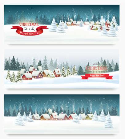 Tres banderas de paisaje de vacaciones de Navidad. Vector.