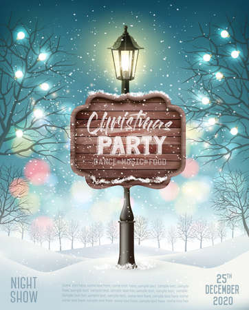 Merry Christmas Party Flyer background with evening winter landscape and lamppost. Vector Ilustracja