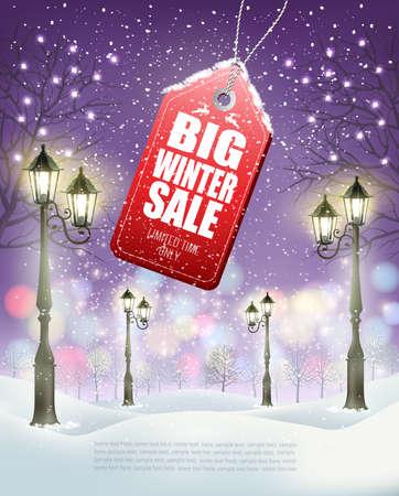 Winter Sale Tag mit abendlicher Winterlandschaft und Laternenpfahl. Vektor. Vektor