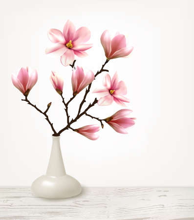 Branches of Pink Magnolia in Vase. Vector illustration