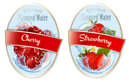 Set of labels with fruit and berries flavored water. Cherry, strawberry. Vector.