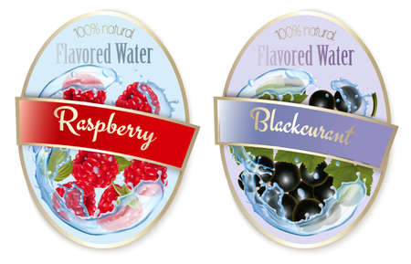 Set of labels with fruit and berries flavored water. Illustration