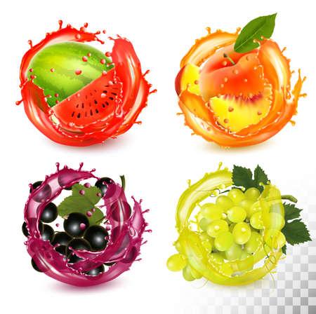 Conjunto de frutas en splash de jugo. Melocotón, grosella negra, sandía, uvas. Vector