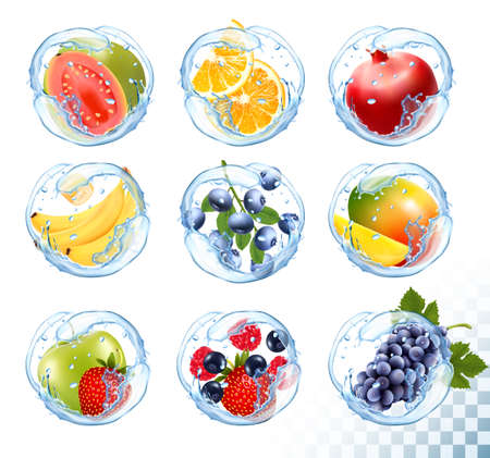 Big collection icons of fruit in a water splash. Guava, banana, orange, apple, grapes, strawberry, pomegranate, peach, mango. Vector Set