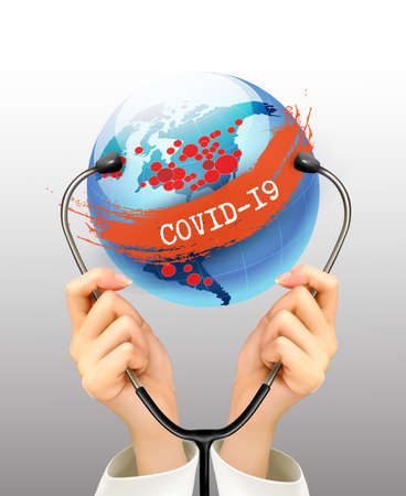 Coranavirus pandemic background with hands holding a stethoscope against a globe. Disaster gloomy backdrop.