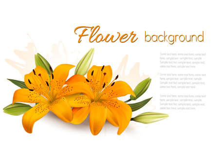 Flower Background With Beautiful Lilies. Vector.