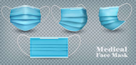 Collection of a blue medical face masks isolated on transparent background. To protect from infection and coronavirus Covid -19. Realistic Vector Illustration.